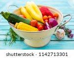 colorful vegetables prepared... | Shutterstock . vector #1142713301
