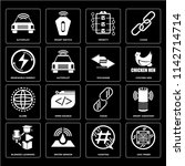 set of 16 icons such as asic...
