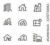 set of black vector icons ... | Shutterstock .eps vector #1142716061