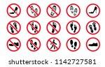 no shoes no ban stop open... | Shutterstock .eps vector #1142727581