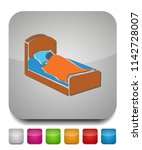 sleep icon  sleeping bed  hotel ... | Shutterstock .eps vector #1142728007