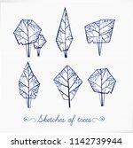 set of doodle pen sketch trees... | Shutterstock .eps vector #1142739944