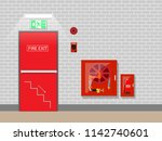fire exit emergency in building ... | Shutterstock .eps vector #1142740601