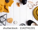 autumn frame with female... | Shutterstock . vector #1142741231