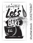 horizontal charcoal bakery...   Shutterstock .eps vector #1142741867