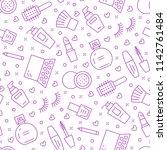 makeup beauty care purple... | Shutterstock .eps vector #1142761484