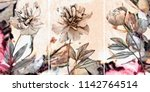 collection of designer oil... | Shutterstock . vector #1142764514
