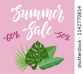 summer sale banner design with... | Shutterstock .eps vector #1142770814