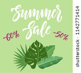 summer sale banner design with... | Shutterstock .eps vector #1142771414