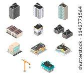 isometric  vector town building ...   Shutterstock .eps vector #1142771564