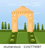 india famous gateway attraction ... | Shutterstock .eps vector #1142774087