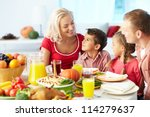 portrait of happy family... | Shutterstock . vector #114279637