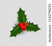 holly berry leaves. christmas... | Shutterstock .eps vector #1142798291