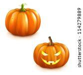 2 pumpkins for halloween ... | Shutterstock .eps vector #114279889
