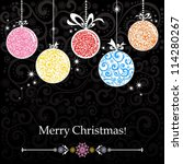 christmas card with colorful... | Shutterstock . vector #114280267