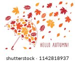 hello autumn  background with... | Shutterstock . vector #1142818937
