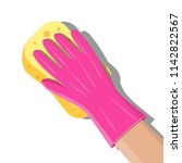 hand in gloves with sponge wash ... | Shutterstock .eps vector #1142822567