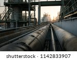 gas storage refinery with pipe... | Shutterstock . vector #1142833907