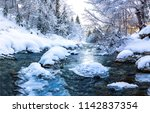 winter forest snow river flow...   Shutterstock . vector #1142837354
