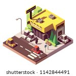 vector isometric car rental... | Shutterstock .eps vector #1142844491