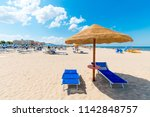 beach with clean white sand.... | Shutterstock . vector #1142848757