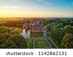Aerial view of De Haar Castle in Dutch Kasteel de Haar is located in Utrecht Netherlands the current buildings all built upon the original castle, date from 1892