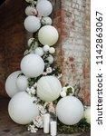 wedding ceremony with beautiful ... | Shutterstock . vector #1142863067