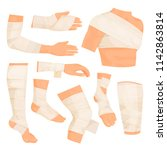 bandaged body parts. strips of... | Shutterstock .eps vector #1142863814