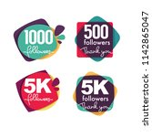 1000 followers and members  ... | Shutterstock .eps vector #1142865047
