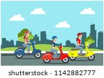 ride a scooter in the park ... | Shutterstock .eps vector #1142882777
