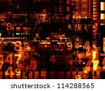 Deep Networking series. Creative arrangement of industrial grunge texture, numbers and dark gradients as a concept metaphor on subject of computing, industrial design and modern technology - stock photo