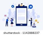 social media on mobile vector... | Shutterstock .eps vector #1142888237
