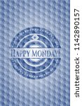 happy monday  blue polygonal... | Shutterstock .eps vector #1142890157