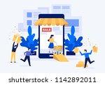 mobile marketing and shopping... | Shutterstock .eps vector #1142892011