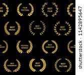 black and gold film award... | Shutterstock .eps vector #1142895647