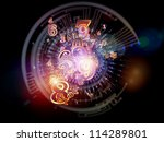 Digital Splash series. Visually pleasing composition of numbers, gradients and fractal elements to serve as supporting background for subjects of mathematics, computers, science and technology - stock photo