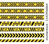 seamless tape caution  danger.  ... | Shutterstock . vector #1142906864