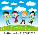 cheerful children in a jump on... | Shutterstock .eps vector #1142908967
