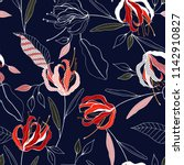 tropical vector seamless flower ... | Shutterstock .eps vector #1142910827