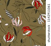 retro wild seamless flower... | Shutterstock .eps vector #1142911061