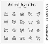 thin line icons set of animals  ... | Shutterstock .eps vector #1142915771