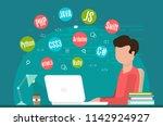 programming banner  coding ... | Shutterstock .eps vector #1142924927