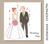 wedding invitation with  bride... | Shutterstock .eps vector #1142946794