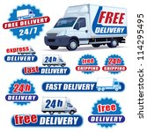 set of blue delivery signs with ...