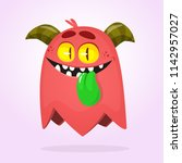 cartoon red monster. vector... | Shutterstock .eps vector #1142957027