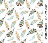 tribal feather seamless pattern ... | Shutterstock .eps vector #1142959004