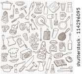 kitchen tools   doodles... | Shutterstock .eps vector #114296095