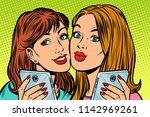 two girlfriends selfie...   Shutterstock .eps vector #1142969261