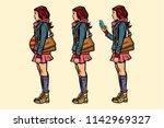 set of teen girl. pregnant and...   Shutterstock .eps vector #1142969327