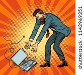 man destroys laptop. stress at... | Shutterstock .eps vector #1142969351